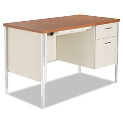 Alera Single Pedestal Steel Desk Oak Putty Alesd4524pc