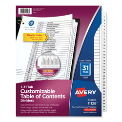 avery ready index template 31 tab - avery ready index table of contents dividers 31 tab set