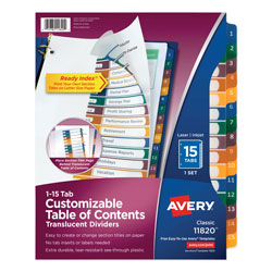 Avery ready index translucent table of contents dividers for Avery table of contents template 15 tab