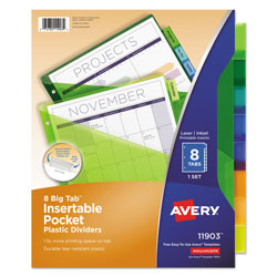 Avery big tab pocket insertable plastic dividers 8 tab for Avery template 11903