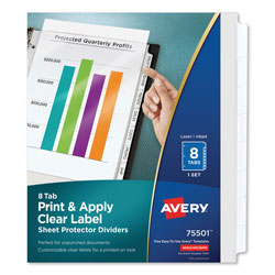 Avery index maker clear pocket label dividers 8 tab set for Avery 8 tab clear label dividers template