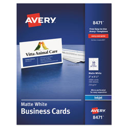 """Avery Ink Jet Business Cards 2""""x3 1 2"""" White 10 Cards"""