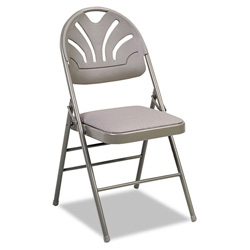 cosco fabric padded seat molded back folding chair taupe