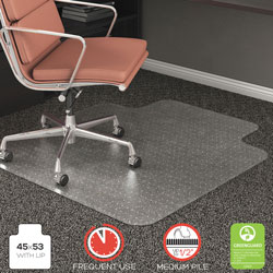 Deflecto RollaMat Vinyl Chair Mat For Medium High Pile Plush Carpet 45 X 53