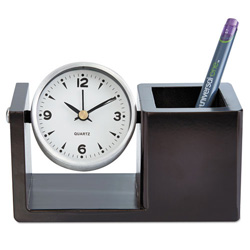 Universal executive desk clock brushed nickel unv10455 restockit - Large brushed nickel wall clock ...