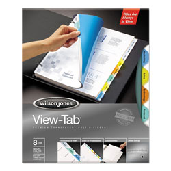 Acco wilson jones view tab transparent index dividers 8 for Templates wilson jones 8 tabs